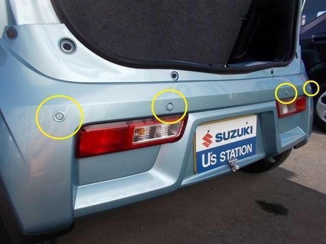 リヤバンパーに内蔵した4つの超音波センサーで障害物を検知して衝突回避する後退時ブレーキサポート☆障害物に近づいていることを音でお知らせしてくれるパーキングセンサーも装備で駐車が苦手な方にも心強いですよ