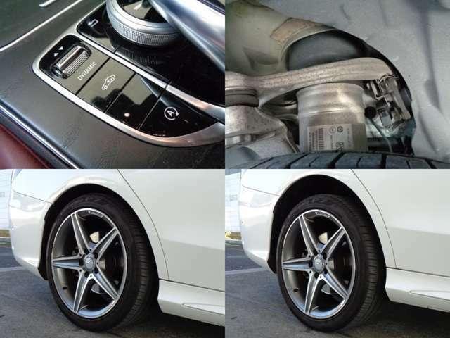 スイッチ一つで車高が上下するエアサスとなります。上がり幅も大きい為走行シーンによって大変便利な装備となっております。