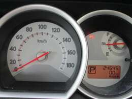 瞬間燃費表示、平均燃費表示もできるメーター。
