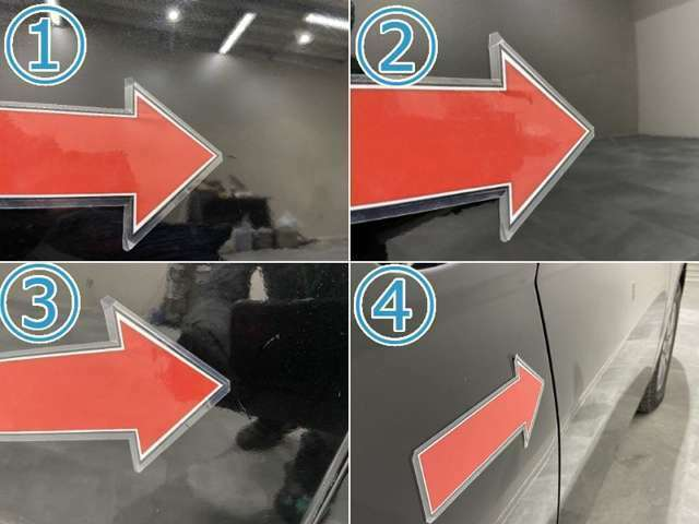 1~3、左フロントとリアドアに小キズやエクボ 4、右Rドアにエクボ  ※掲載写真以外にも、年式や走行距離に応じた微細な傷がある場合がございます。予めご了承ください。