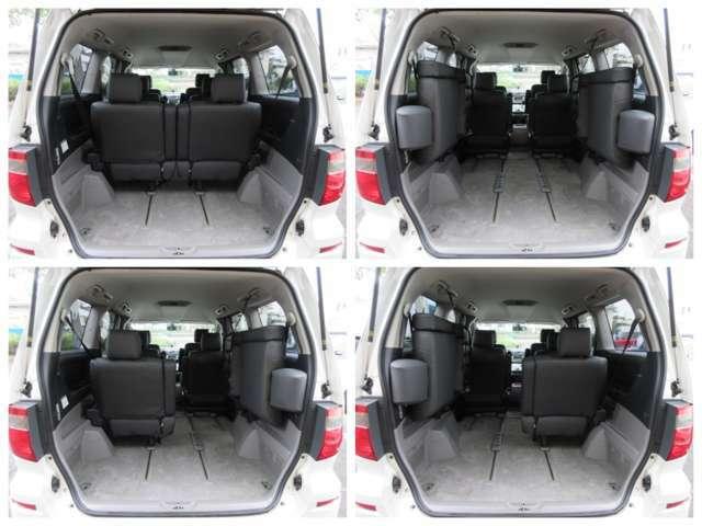 ラゲッジスペースは後部座席を横に掛けると更に広々とした収納スペースが確保出来ます♪フロアもフラットになりますので荷物の出し入れもラクラクです♪好みの用途に応じてシートをアレンジして下さい♪