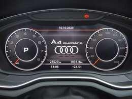 シンプルで視認性のよいスピードメーター。スピードメーターの円周は大小の変更で、より地図表示を見やすくすることが可能です。変更はステアリングホイールにあるボタンから行うことができます。