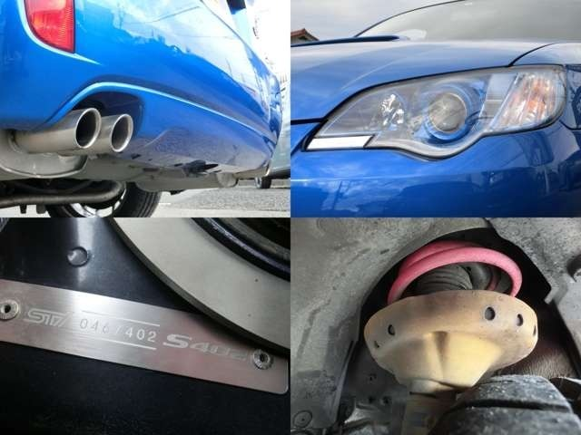 BBSアルミ・STIマフラー・カーボンリップスポイラー・フレキシブルタワーバー・ビルシュタインサス・他S402専用パーツ多数装備☆インナーブルーのヘッドライトでアクセント♪