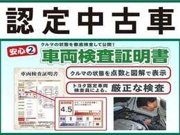 トヨタ認定検査員が車両の状態を点数と展開図で表示した証明書です。車選びが初めての方にも安心です。