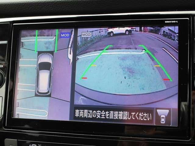 純正メモリーナビMM519D-L。フルセグテレビ。アラウンドビューモニターで駐車時のサポートになりますね。