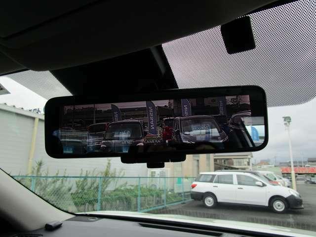 インテリジェントスマートルームミラー カメラで捕らえた映像が映りますので車内の荷物や人も後ろの視界を遮りません。通常のルームミラーとしても使えます。