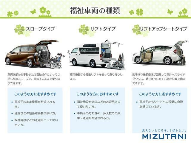 福祉車両には大きく3つのタイプがあり、そこから各メーカーで使い勝手やサイズ等が違ってきます。ぜひいろいろなタイプやメーカーを揃えている福祉車両専門店ミズタニへお任せください。