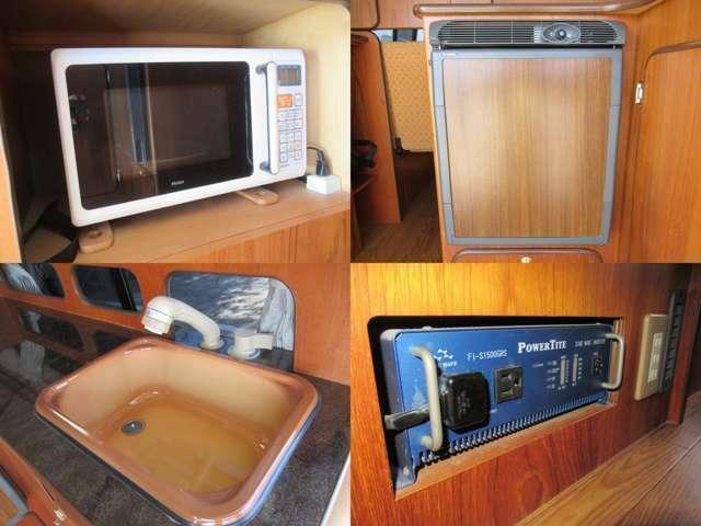 電子レンジ 冷蔵庫!!使いやすい高さにシンクを配置しております!!1500Wインバーター付き