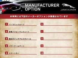 ◆オプション装備リストとなります。どれも英国の気品あふれる装備となり、ジャガー・ランドローバーならではの装備となります。どれも人気のある装備です。