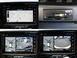 メーカーオプションメモリーナビ搭載。フルセグ地デジTV、DVD、CD、Bluetooth、USB/AUX端子等内蔵。全方位カメラ、ビルトインETC付き。