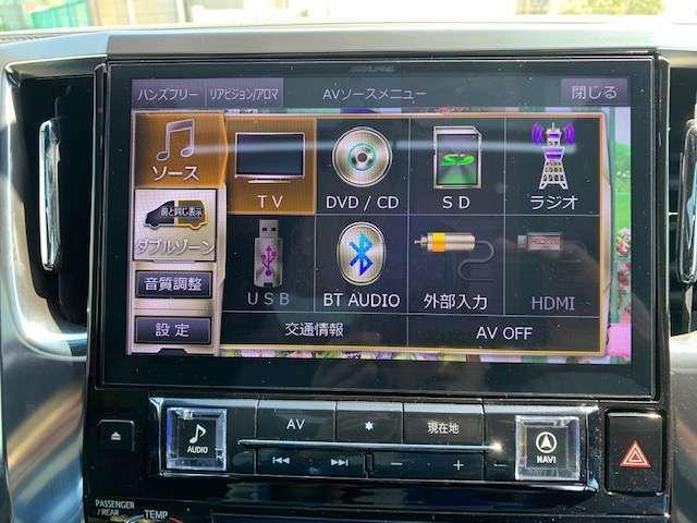 アルパインデカナビ、フルセグ、フロントカメラ、サイドカメラ、バックカメラ、後席フリップダウンモニター、Bluetoothオーディオ、ETC