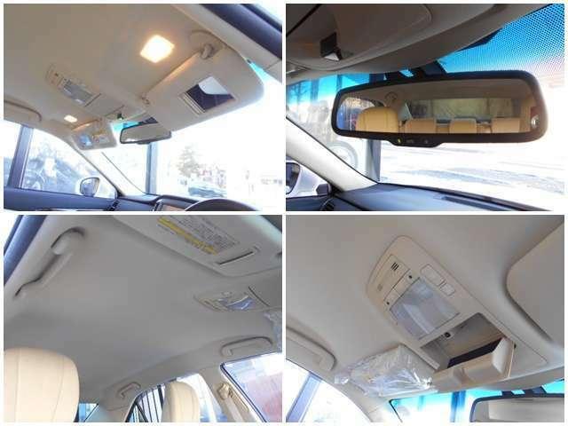 ☆左上:運転席と助手席の天井には身嗜みを整える鏡付き☆右上:後ろからの光を軽減してくれるバックミラー付き☆左下:天井も含めしっかり清掃済です☆右下:ルームランプのスイッチ類が付いております☆
