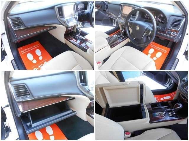 ☆左上:グローブBOXなど助手席前の写真です☆右上:ハンドル周りの画像です☆右下:運転席・助手席真ん中肘掛にはドリンクホルダーや小物入れが付いております☆左下:助手席前には小物を入れるグローブBOX有り☆