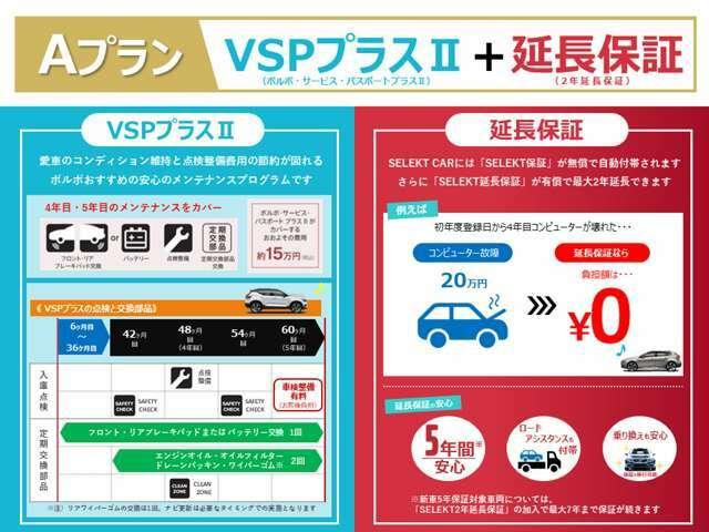 【VSPプラスII】車検後の定期点検&定期交換部品の交換がセットになった商品。 【延長保証】初年度登録時から5年間まで安心が続きます。いざという時、あなたの強い味方になってくるはず。