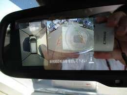 バックギアに入れたときルームミラーに360度見下ろすアラウンドビューモニターが装備