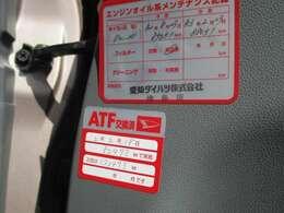 前回車検時、ATF バッテリー エアコンフィルター クーラント等交換済み