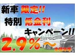新車特別最低金利!2.9%~頭金0円、最長120回払い可能、残価設定 Order Made Loan☆