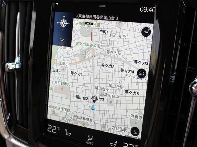 存在感のある9インチタッチスクリーンは縦長のため進行方向を見るナビ画面にはとても使いやすいデザインです。操作ロジックは使い慣れたタブレット端末と同様です。