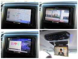 社外HDDナビが装備されております♪画面もクリアで運転中も確認しやすいです♪バックカメラ付きで安心です♪フルセグとDVDの視聴も可能でリアモニターも装備されており後席にお座りの方も退屈せずにお乗り頂けます♪