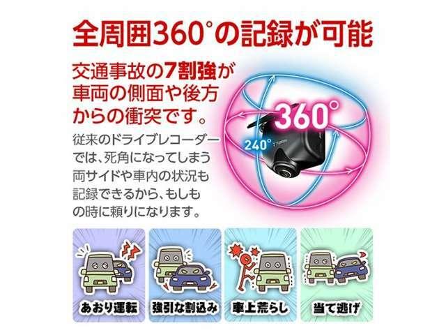360度録画の国産ドライブレコーダーです♪専用ソケットで配線もスッキリ取付け致します。メーカー3年保証付き♪