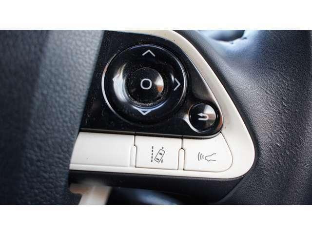 操舵支援、つまりハンドルの微調整を自動でサポートして、車線を飛び出さないための機能です。そして追従機能のスイッチで車間距離を自動で調整します。どちらもとても便利です。
