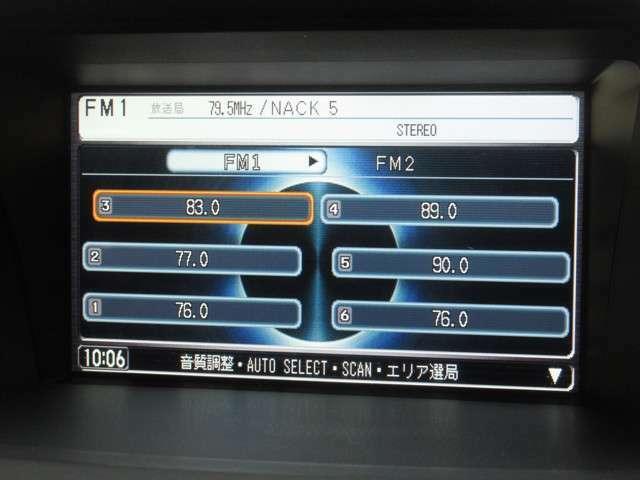 ナビゲーションはホンダ純正メモリーナビを装着しております。AM、FM、CD、DVD再生、音楽録音再生、ワンセグTVがご使用いただけます。初めて訪れた場所でも道に迷わず安心ですね!
