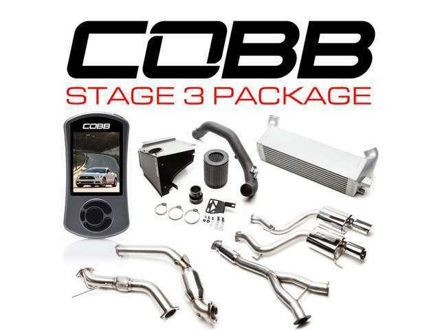 COBBチューニング ステージ3パッケージ内容 アクセスポートV3ECUチューンデバイス 大径エアインテークKIT 大容量インタークーラーKIT ターボバックフルエキKIT