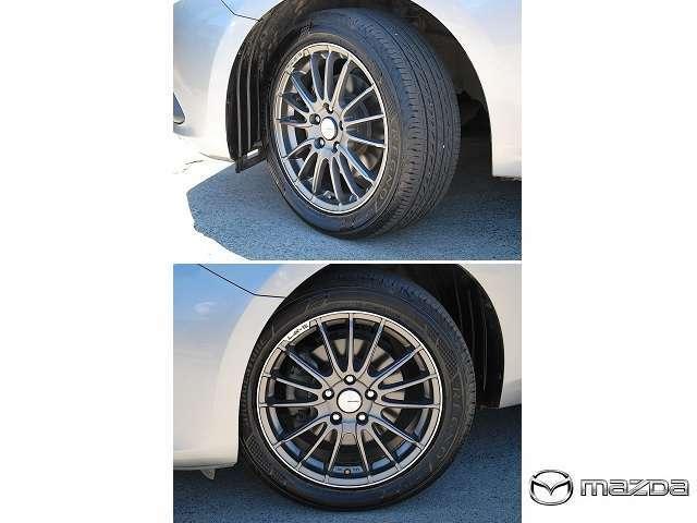 BRIDGESTONE製 低燃費タイヤ REGNO GR-XI が装着されています。サイズは215/50R17とインチダウンされています。