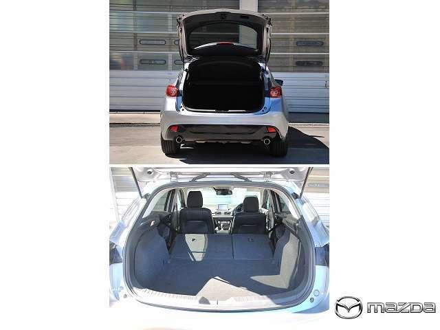 後部座席を使用していても、スポーツのラゲッジルームは364Lの容量を確保しています。大型のスーツケース2個を積み込めるスペースを確保。さらに、リアゲートと連動して傾くトノカバーも装備しました。