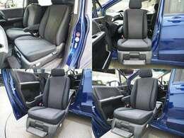 助手席シートが電動で回転や昇降をすることで乗り降りをサポートします