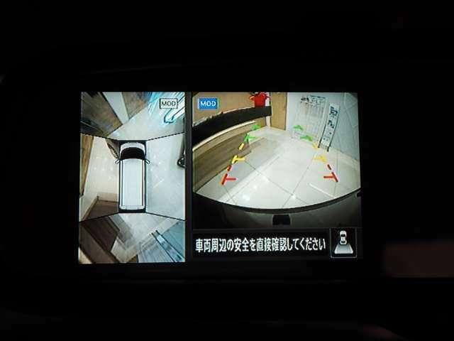 バックカメラと上から見下ろしたようなモニターがルームミラーに移るので駐車が楽々です♪
