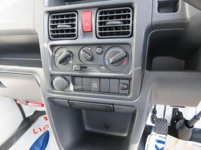 エアコン、アクセサリーソケット、デフロック機能。ぬかるみなどで片輪が空回りした場合に、スイッチをONにするだけで、もう一方のタイヤに駆動力を伝達。ぬかるみなどからの脱出時に威力を発揮します。