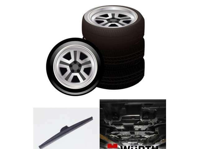 Aプラン画像:BS VRXスタッドレスタイヤ+14インチホイールセット、スノーワイパー、WURTH下廻り防錆の3点セットです。お車ご契約時にお申し込みください。