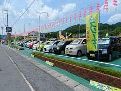 展示台数約100台!1200坪の広大な展示場!軽自動車からSUVまで様々なラインナップをそろえております。