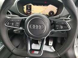Audiバーチャルコックピットも装備!ハンドルにあるスイッチでオーディオ操作やバーチャルコックピットの操作が出来ます!