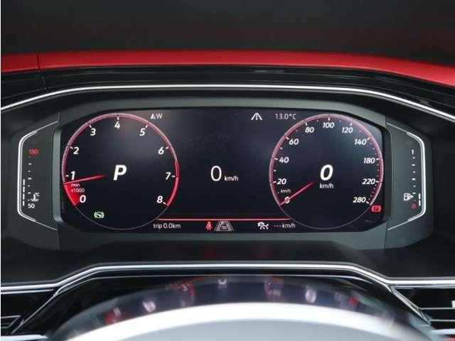 デジタルメータークラスター「アクティブインフォディスプレイ」。メーター内にナビゲーションのマップをよりワイドに映し出す事も可能です。他にも燃費や走行距離、走行時間、アシストシステムが表記出来ます。