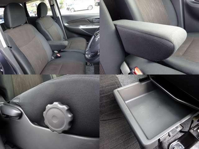 大型アームレスト付の運転席は、高さの調整ができるシートアジャスターにステアリングチルト付です。小柄な方でも、より安心して運転していただけますよ。