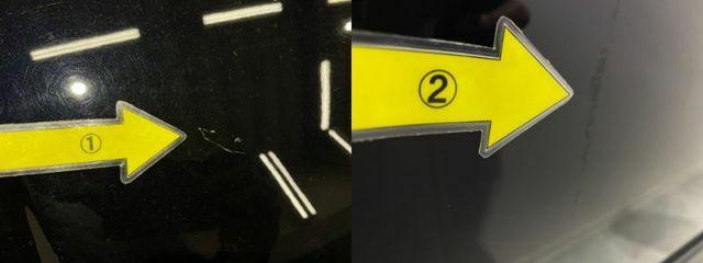 1、ボンネット傷 2、右Fドアにキズ  ※掲載写真以外にも、年式や走行距離に応じた微細な傷がある場合がございます。予めご了承ください。