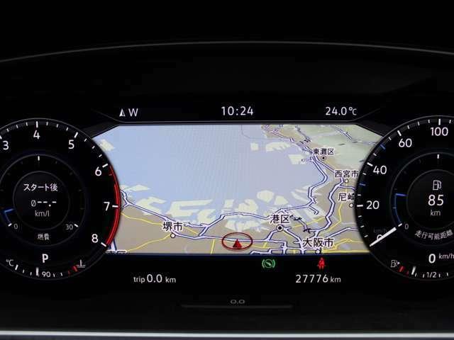 デジタルメーター内の地図は詳細にしたりできます。