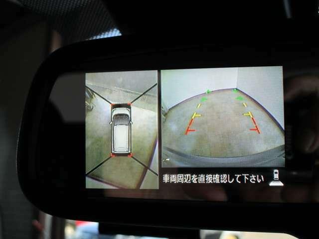 ルームミラーの左端に映し出される、全周囲&バックカメラの画像です。