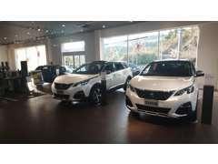 ショールームには最新モデルを中心に新車4~5台を展示しております。