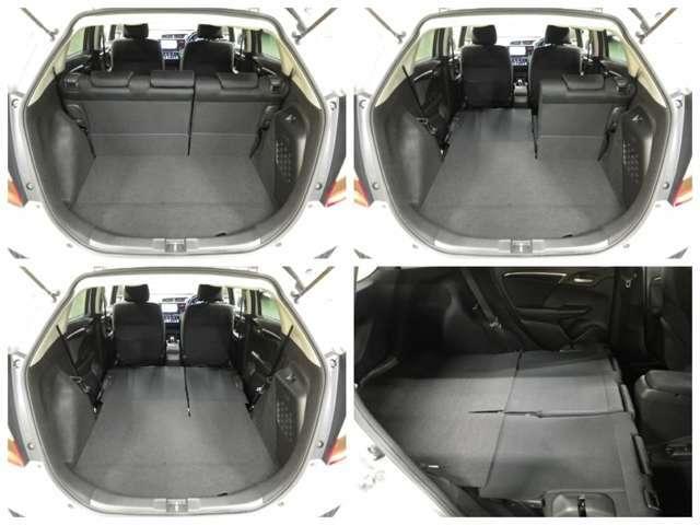 【後席シート】ダイブダウンさせれば荷室とつながるフラットなラゲッジスペースに!更に座面を持ち上げると、便利なトールモードに変身します!多彩なシートアレンジで使い勝手良好です!