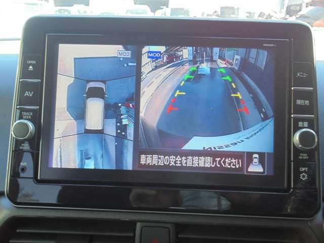アラウンドビューモニター 駐車場での車庫入れや狭い道路での走行にカメラで確認が出来るので安心です。