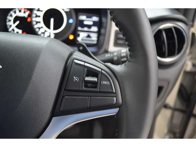 走行時、スイッチひとつで設定した速度を自動的に維持するクルーズコントロールシステムを装備し、アクセルを踏み続ける必要がなく、高速走行時や長距離ドライブを快適にサポートし、パドルシフトも装備です