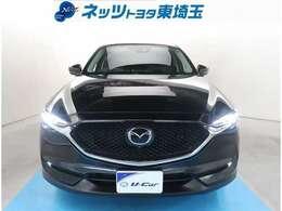【フロント】CX-5が入荷しました!人気のブラック!LEDヘッドライト付で夜間視界良好!ワンオーナー車!