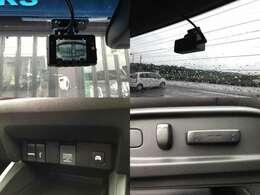 【左上&右上】一の際にあると安心、コムテック・前方&後方・ドライブレコーダー 【左下】HDMI/USBポート 【右下】運転席パワーシート