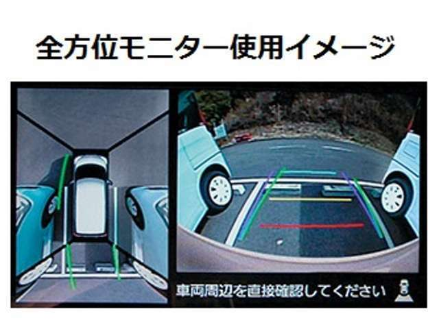 Aプラン画像:車両の前後左右4カ所に設置されたカメラと連動して「全方位モニター」を使用することが可能です!クルマを真上から見下ろしたような映像をナビ画面に表示できます♪