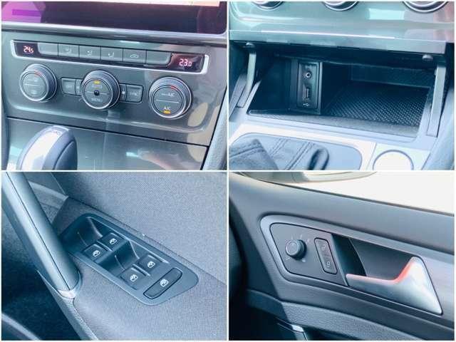 左右でそれぞれ温度調節が可能なオートエアコン。スマートフォンの充電にも役立つUSBポート付き。