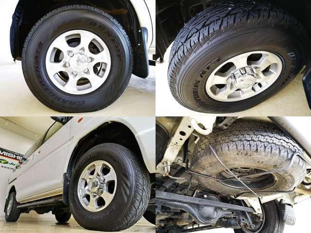 タイヤはバッチリ 純正アルミホイルが素敵ですね 下回りも この年式では 大変状態良い方だと思います