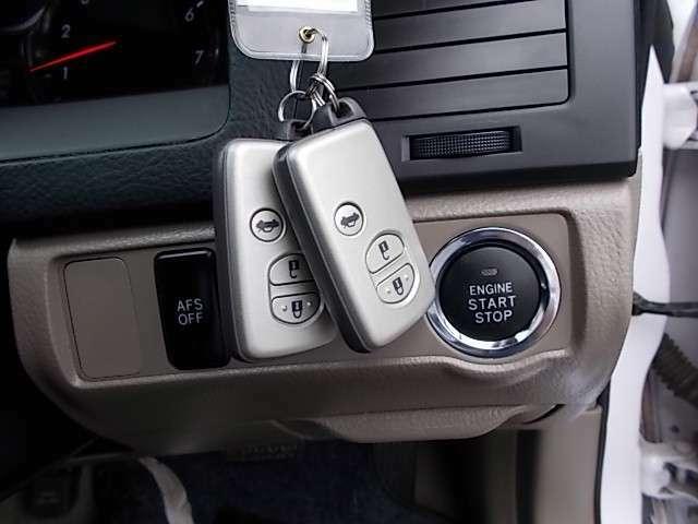 スマートキーシステム付。鍵を持っていればドアロック・解除が楽チンです。毎回鍵を出す手間もなくなりますね。悪天候時には特に重宝します。更にプッシュスターターもとっても便利!ワンプッシュでエンジン始動!